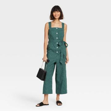 Women's Sleeveless Button-front Jumpsuit - A New Day Teal