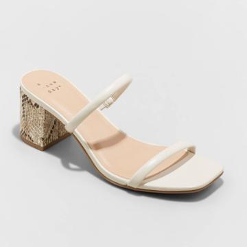 Women's Cris Block Heels - A New Day Off-white