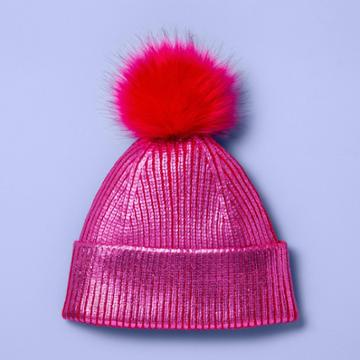Girls' Beanie Hat With Pom - More Than Magic Pink, Girl's