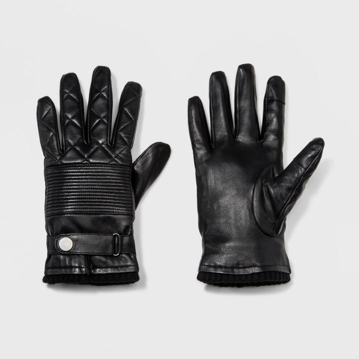Men's Leather Glove Gloves - Goodfellow & Co Black