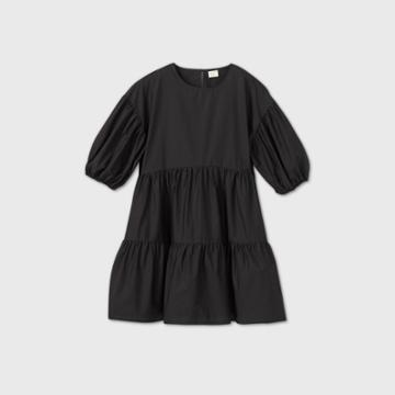 Women's Puff Short Sleeve Tiered Dress - A New Day Black