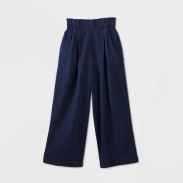 Women's High-rise Wide Leg Cropped Pull-on Pants - A New Day Indigo Xs, Women's, Blue