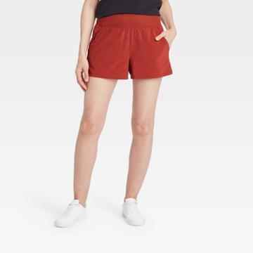 Women's Knit Waist Stretch Woven Shorts - All In Motion Poppy