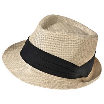 Merona Women's Straw Fedora Hat With Black Sash - Natural -