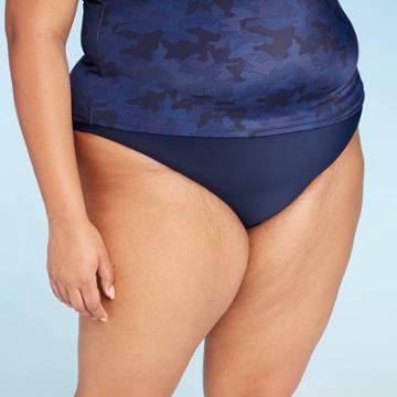 Women's Plus Size Full Coverage Bikini Bottom - All In Motion Navy 14w, Women's, Blue