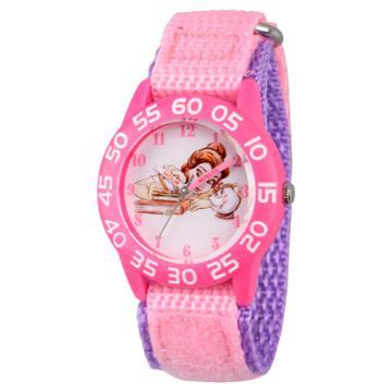 Girls' Disney Princess Belle, Mrs Potts, And Chip Pink Plastic Time Teacher Watch - Pink