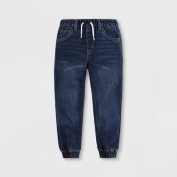 Levi's Toddler Boys' Indigo Dobby Pull-on Jogger Pants - Medium Wash Sundance Kid 2t, Medium Blue