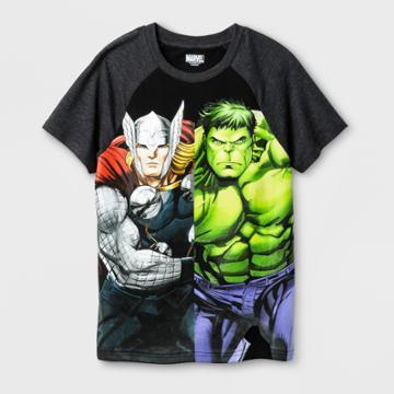 Avengers Boys' Marvel Thor & Hulk T-shirt - Black