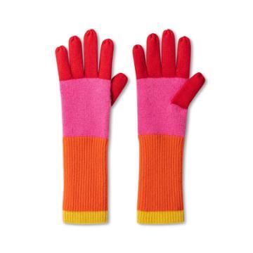 Women's Colorblock Gloves - Isaac Mizrahi For Target Pink/orange, Girl's, Size: Small, Pink Orange