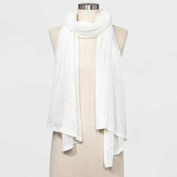 Women's Oblong Travel Wrap Scarf - A New Day Cream One Size, Women's, White