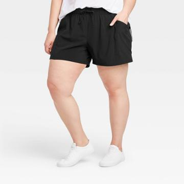 Women's Plus Size Move Stretch Woven Shorts 4 - All In Motion Black 1x, Women's,
