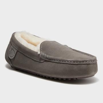 Women's Dluxe By Dearfoams Fernie Genuine Shearling Moccasin Slippers - Gray