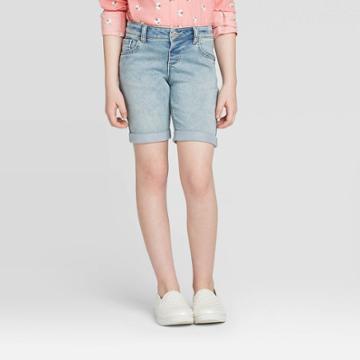 Girls' Knit Bermuda Jean Shorts - Cat & Jack Light Wash Xs, Girl's,