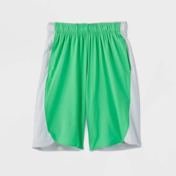 Boys' Color Block Stretch Woven Shorts - All In Motion Light Green