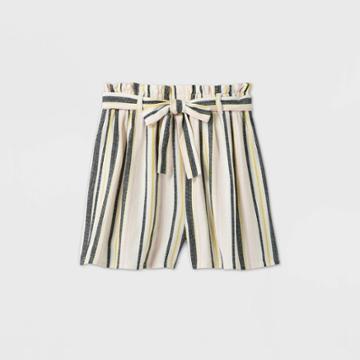 Girls' Paperbag Striped Waist Shorts - Art Class S, Girl's, Size: Small,