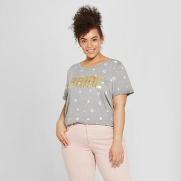 Modern Lux Women's Plus Size Short Sleeve Bride Gold Foil Diamond Print T-shirt - Modern