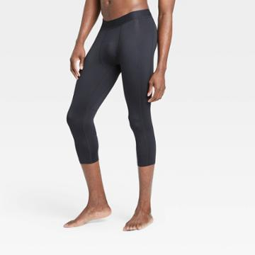 Men's Fitted 3/4 Tights - All In Motion Black M, Men's,