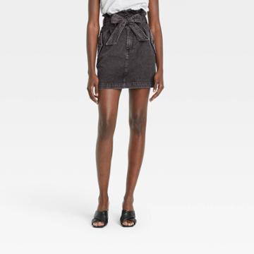 Women's Mini Jean Skirt - Who What Wear Black