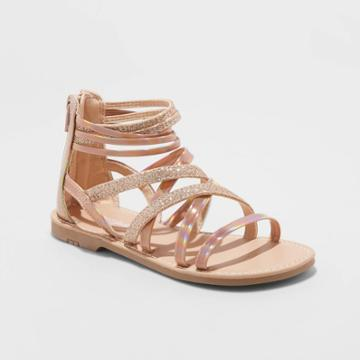 Girls' Gelsey Gladiator Sandals - Cat & Jack Rose Gold 13, Toddler Girl's, Pink