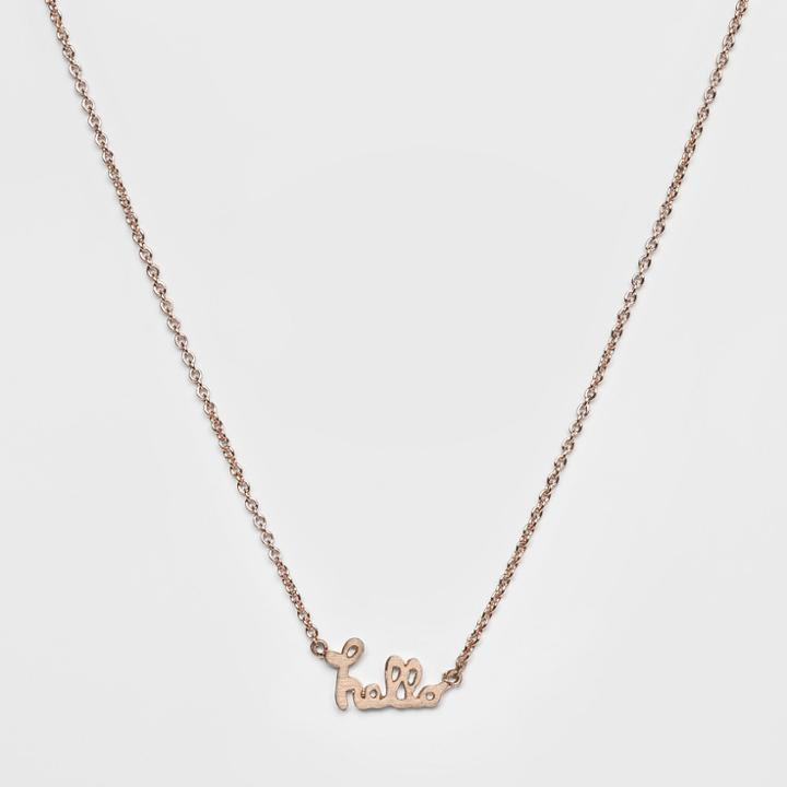 Pendant With Scripted Hello Verbiage Necklace - Wild Fable Rose Gold