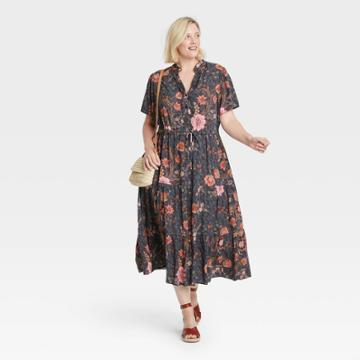 Women's Plus Size Short Sleeve Dress - Knox Rose 1x Navy Floral, Blue Floral