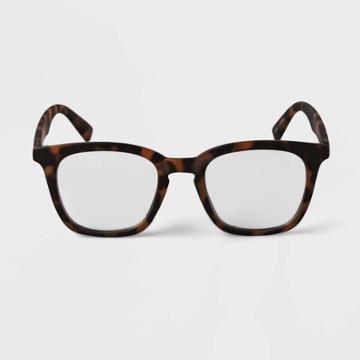 Men's Tortoise Print Square Blue Light Filtering Glasses - Goodfellow & Co Brown
