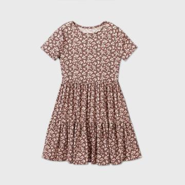 Girls' Short Sleeve Tiered Dress - Art Class
