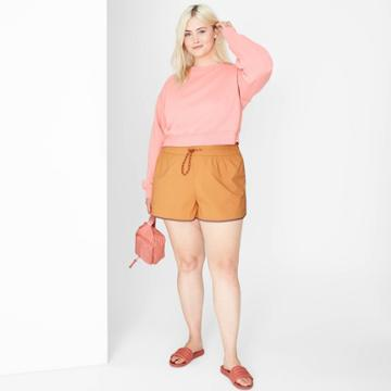 Women's Plus Size Woven Dolphin Shorts - Wild Fable Brown