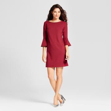 Women's Ponte Ruffle Sleeve Dress - A New Day Burgundy (red)