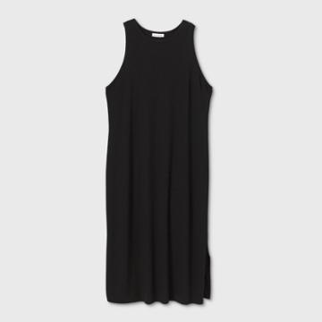 Women's Plus Size Sleeveless Racertank Rib-knit Dress - Prologue Black 1x, Women's,
