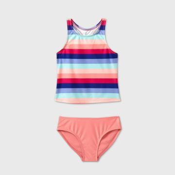 Girls' Horizontal Stripe Tankini Set - Art Class