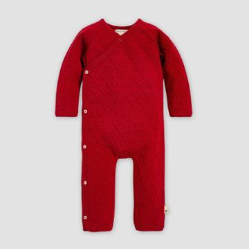 Burt's Bees Baby Baby Organic Cotton Quilted Bee Kimono Jumpsuit - Red 0-3m, Kids Unisex