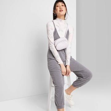 Women's Sleeveless V-neck Knit Jumpsuit - Wild Fable Gray