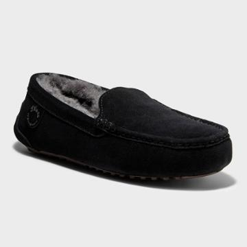 Men's Dluxe By Dearfoams Nelson Genuine Shearling Moccasin Slippers - Black