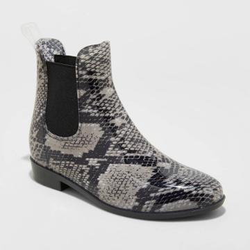 Women's Chelsea Snake Print Rain Boots - A New Day Gray