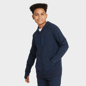 Boys' French Terry Full Zip Hoodie - All In Motion Navy Heather Xs, Boy's, Blue Grey