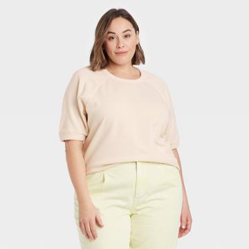 Women's Plus Size Short Sleeve Sweatshirt - Universal Thread Cream