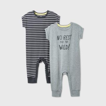 Baby Boys' 2pk 'no Rest For The Wild' Short Sleeve Romper - Cat & Jack Gray Newborn