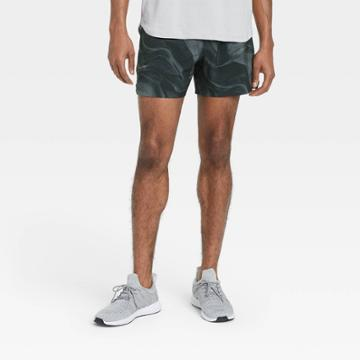 Men's 5 Wave Print Lined Run Shorts - All In Motion Navy Base