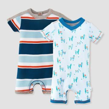 Burt's Bees Baby Baby Boys' 2pk Local Stripe Romper Set - Blue