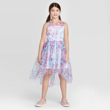 Zenzi Girls' Floral Dress - Blue