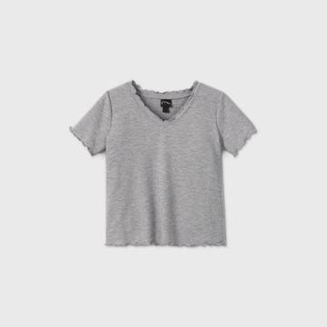 Girls' Thermal V-neck Short Sleeve T-shirt - Art Class Gray
