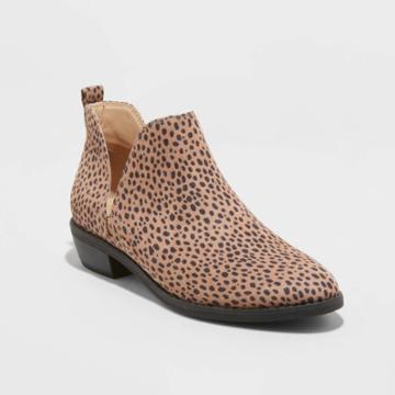 Women's Nora Leopard Wide Width Cut Out Bootie - Universal Thread Brown