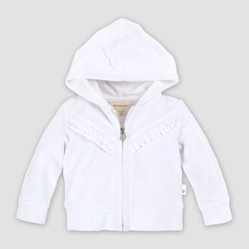 Burt's Bees Baby Baby Girls' Organic Cotton Ruffle Front Zip Hoodie - White 0-3m, Girl's, Beige