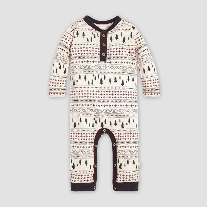 Burt's Bees Baby Baby Organic Cotton Sleigh Ride Fair Isle Coverall - White 0-3m, Kids Unisex