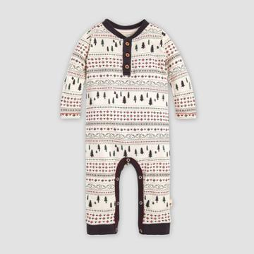 Burt's Bees Baby Baby Organic Cotton Sleigh Ride Fair Isle Coverall - White 0-3m, Kids Unisex
