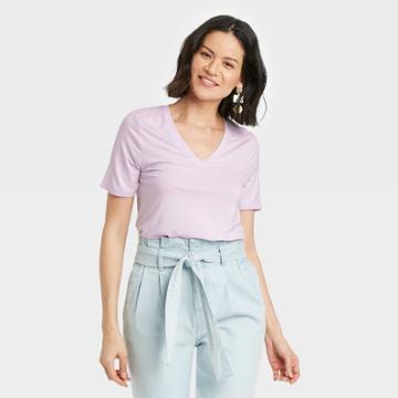 Women's Short Sleeve V-neck Drapey T-shirt - A New Day Light Purple