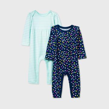 Baby Girls' 2pk Dot Long Sleeve Romper - Cat & Jack Blue Newborn