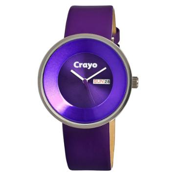 Women's Crayo Button Watch With Day And Date Display - Purple,