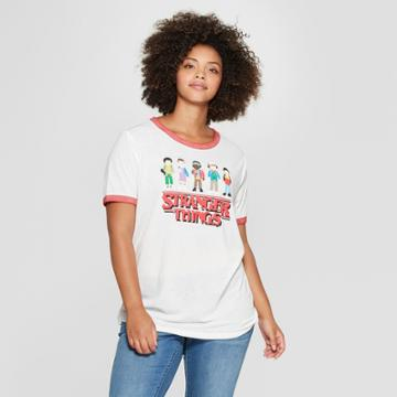 Women's Stranger Things Plus Size Short Sleeve Character Graphic T-shirt (juniors') White